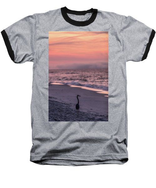 Baseball T-Shirt featuring the photograph Sunrise Beach And Bird by John McGraw