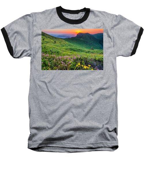 Sunrise Behind Goat Wall Baseball T-Shirt