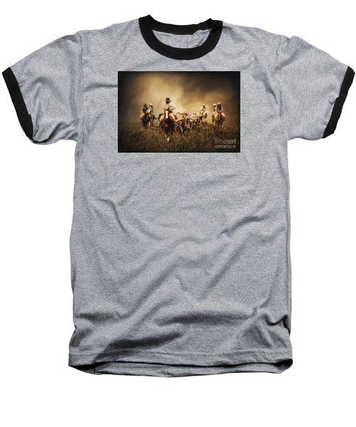 Sunrise Cattle Drive Baseball T-Shirt by Priscilla Burgers
