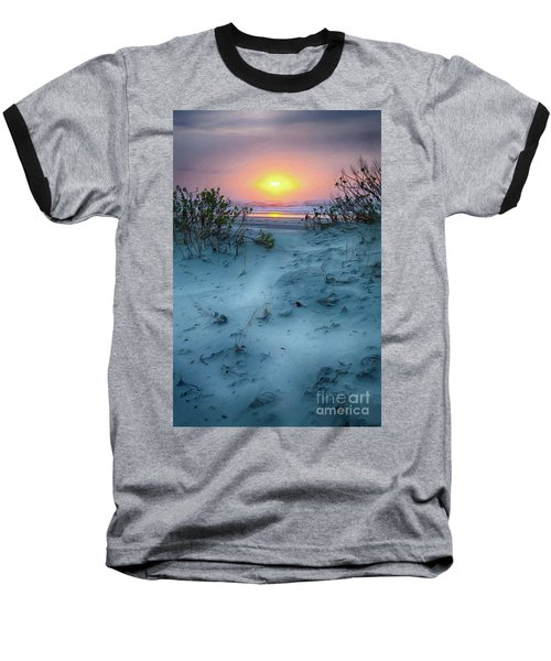 Baseball T-Shirt featuring the painting Sunrise Hike On The Outer Banks Ap by Dan Carmichael