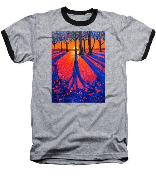 Sunrise In Glory - Long Shadows Of Trees At Dawn Baseball T-Shirt by Ana Maria Edulescu