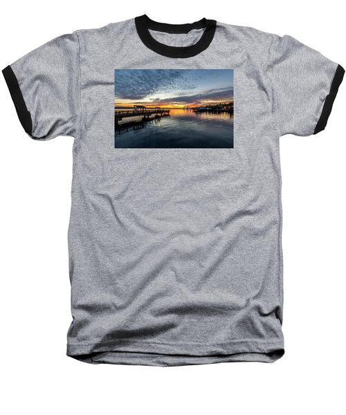 Sunrise Less Davice Pier Baseball T-Shirt by Rob Green