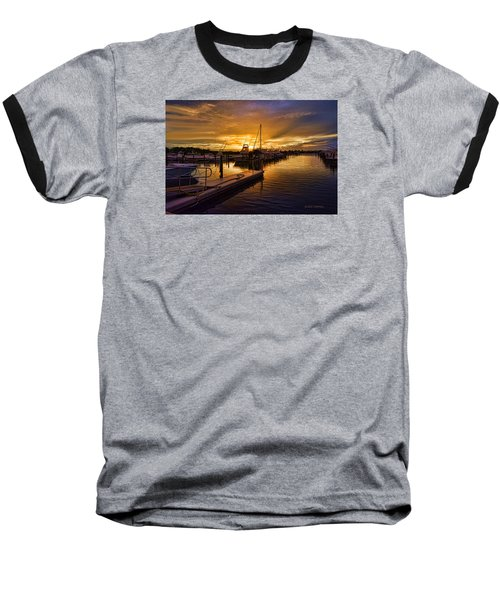 Sunrise Marina Baseball T-Shirt by Don Durfee