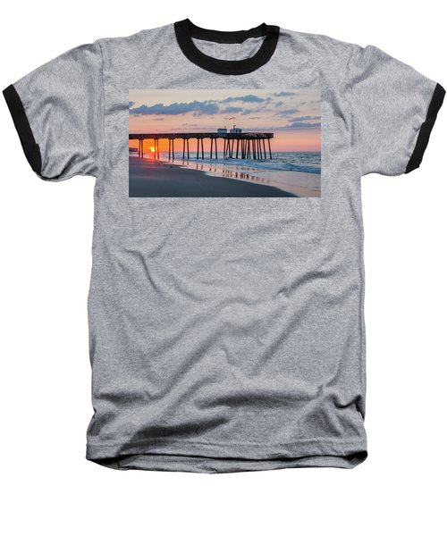Sunrise Ocean City Fishing Pier Baseball T-Shirt by Photographic Arts And Design Studio