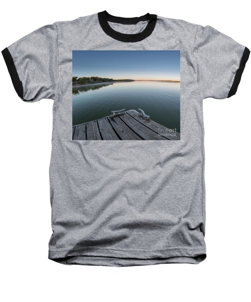 Sunrise On A Clear Morning Over Large Lake With Fog On Top, From Baseball T-Shirt