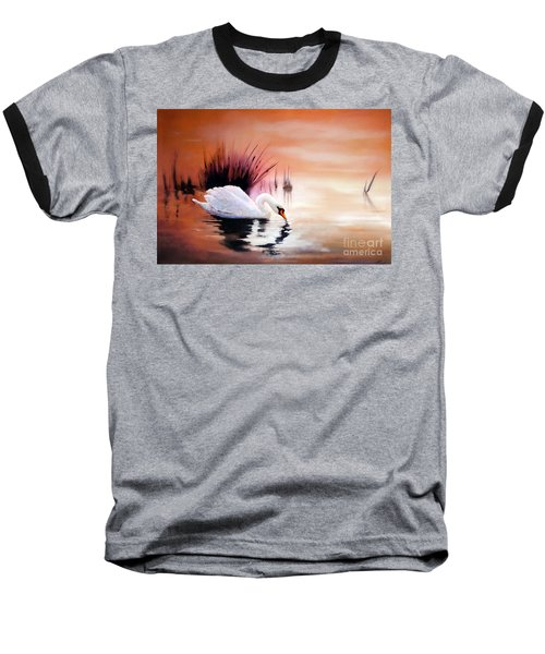 Baseball T-Shirt featuring the painting Sunrise On Swan Lake by Michael Rock