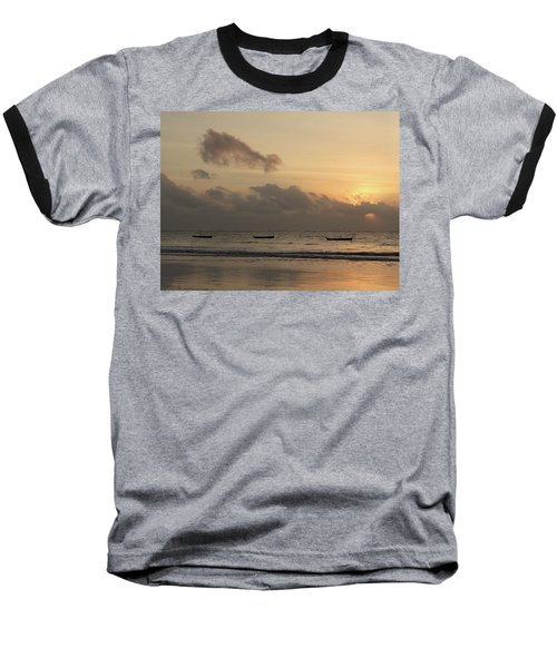 Sunrise On The Beach With Wooden Dhows Baseball T-Shirt