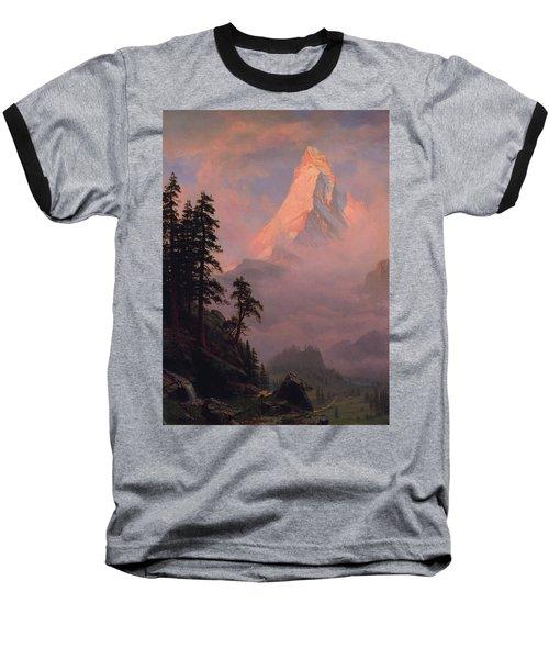 Baseball T-Shirt featuring the painting Sunrise On The Matterhorn         by Albert Bierstadt