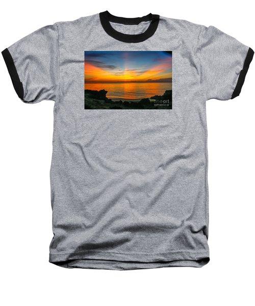 Sunrise On The Rocks Baseball T-Shirt by Tom Claud