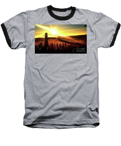 Sunrise On The Wire Baseball T-Shirt by J L Zarek