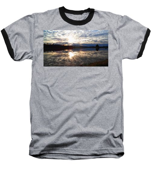 Sunrise Over Flooded Field In Bow Baseball T-Shirt