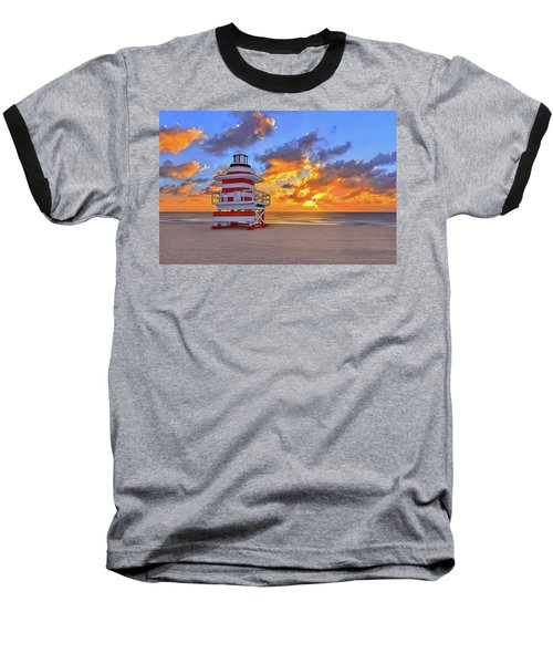 Sunrise Over Lifegaurd Stand On South Miami Beach  Baseball T-Shirt by Justin Kelefas