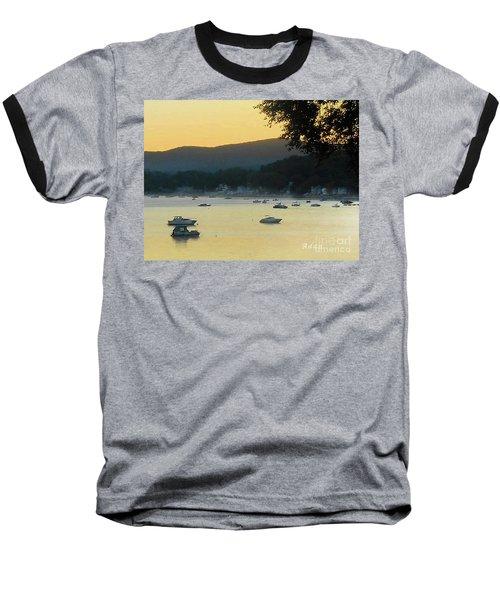 Sunrise Over Malletts Bay Panorama - Nine V2 Detail Baseball T-Shirt by Felipe Adan Lerma