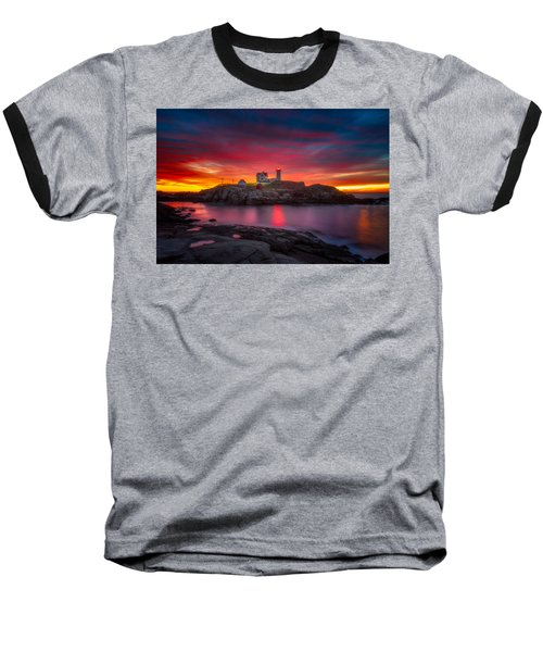 Sunrise Over Nubble Light Baseball T-Shirt