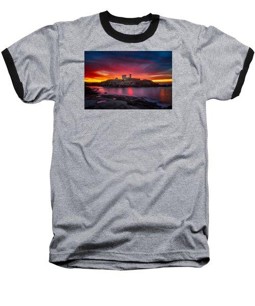 Sunrise Over Nubble Light Baseball T-Shirt