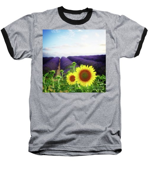 Sunrise Over Sunflower And Lavender Field Baseball T-Shirt by Anastasy Yarmolovich