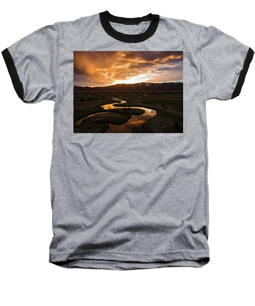 Sunrise Over Winding River Baseball T-Shirt