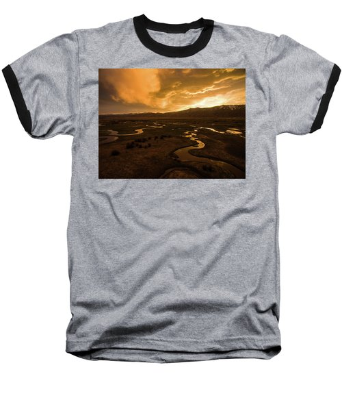 Sunrise Over Winding Rivers Baseball T-Shirt