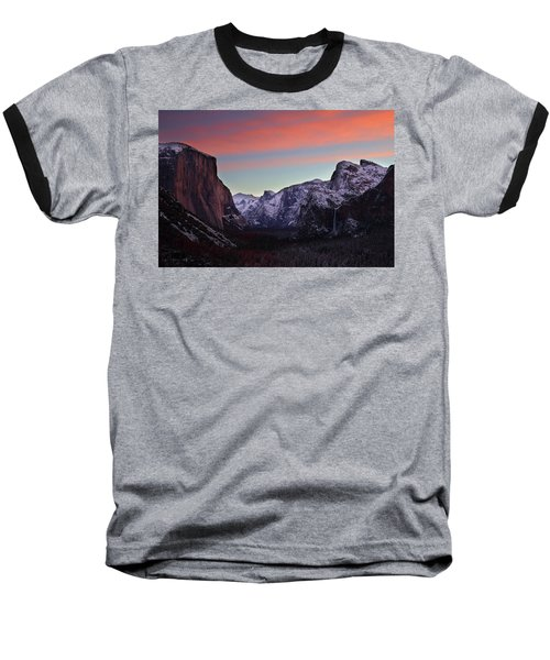 Sunrise Over Yosemite Valley In Winter Baseball T-Shirt