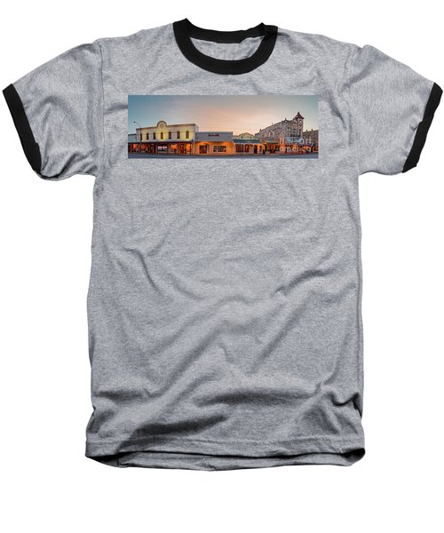 Sunrise Panorama Of Downtown Fredericksburg Historic District - Gillespie County Texas Hill Country Baseball T-Shirt