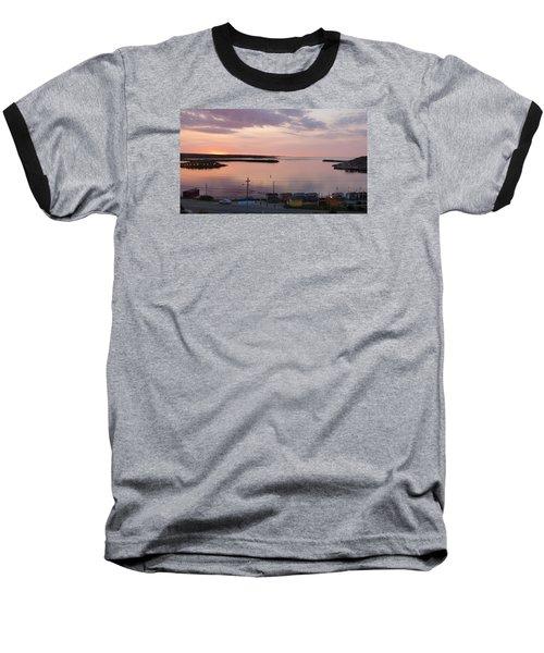 Sunrise Port Aux Basque, Newfoundland  Baseball T-Shirt by Joel Deutsch