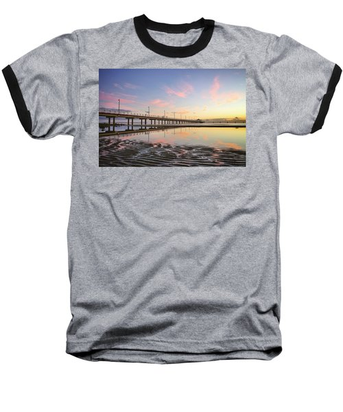 Sunrise Reflections At The Shorncliffe Pier Baseball T-Shirt