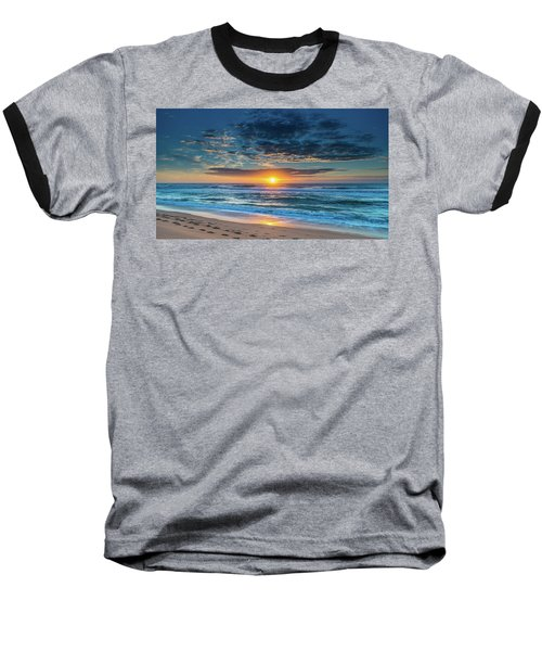 Sunrise Seascape With Footprints In The Sand Baseball T-Shirt