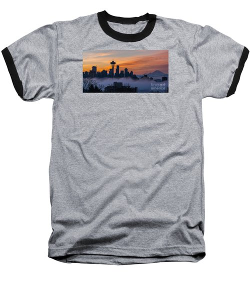 Sunrise Seattle Skyline Above The Fog Baseball T-Shirt by Mike Reid