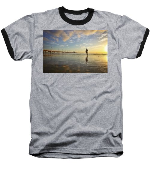 Sunrise Silhouette Down By The Pier. Baseball T-Shirt