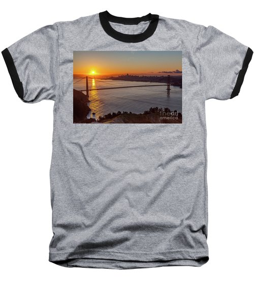 Sunrise Sunlight Hitting The Coastal Rock On The Shore Of The Go Baseball T-Shirt