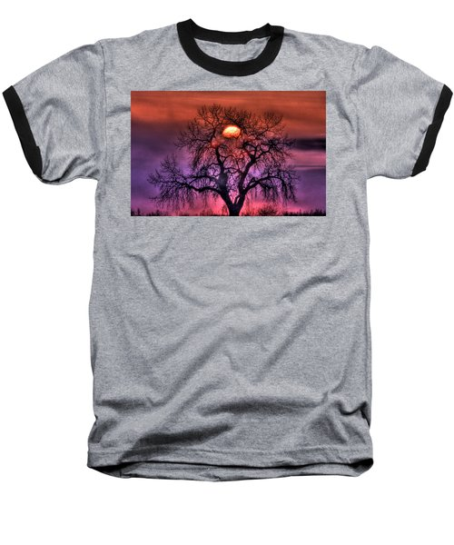 Sunrise Through The Foggy Tree Baseball T-Shirt