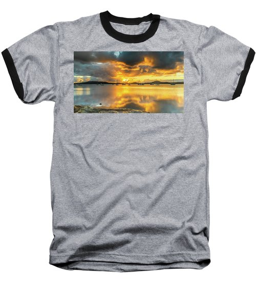 Sunrise Waterscape With Reflections Baseball T-Shirt