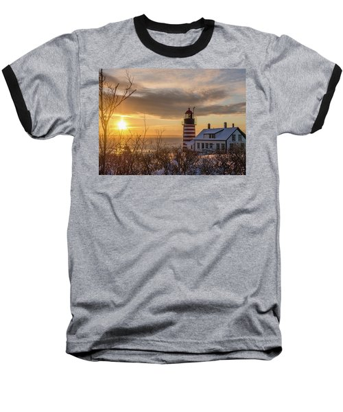 Sunrise West Quoddy Lighthouse Baseball T-Shirt by Trace Kittrell
