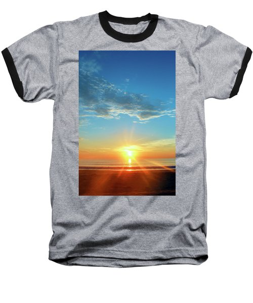 Sunrise With Flare Baseball T-Shirt by David Stasiak