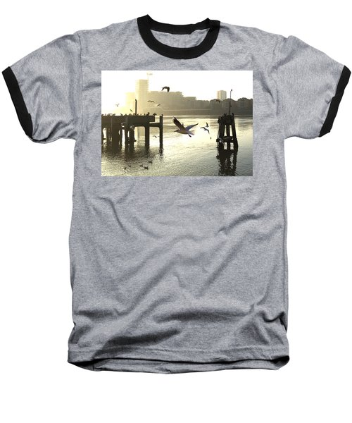 Sunrise With Seagulls Baseball T-Shirt