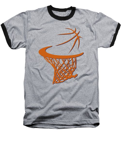 Suns Basketball Hoop Baseball T-Shirt by Joe Hamilton