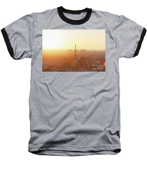 Sunset Above Paris Baseball T-Shirt