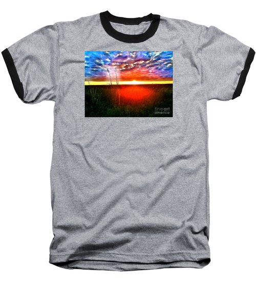 Baseball T-Shirt featuring the painting Sunset by Amy Sorrell
