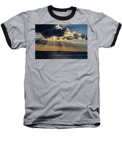 Sunset And A Three Masted Schooner Baseball T-Shirt