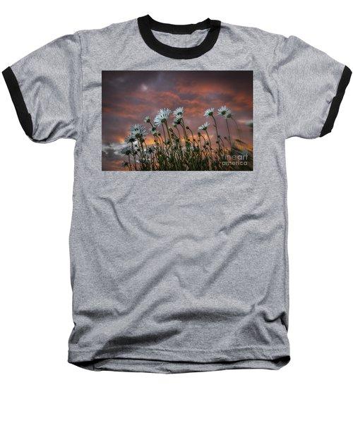 Sunset And Daisies Baseball T-Shirt