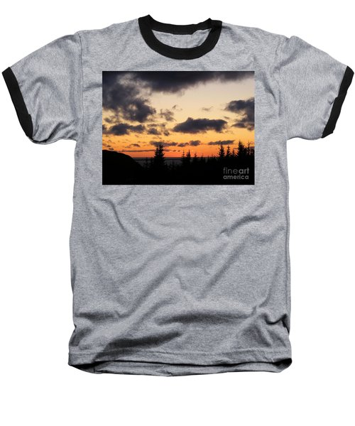 Sunset And Dark Clouds Baseball T-Shirt by Barbara Griffin