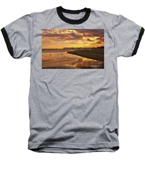 Sunset And Gulls Baseball T-Shirt by Kathy Baccari