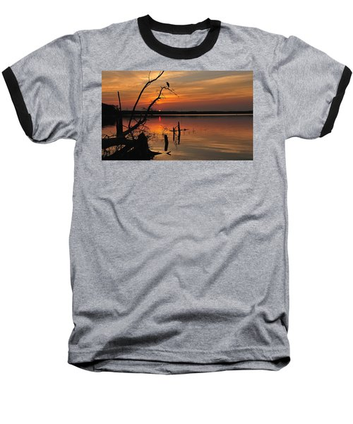 Baseball T-Shirt featuring the photograph Sunset And Heron by Angel Cher