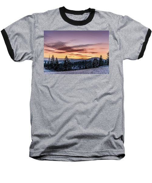 Sunset And Mountains Baseball T-Shirt