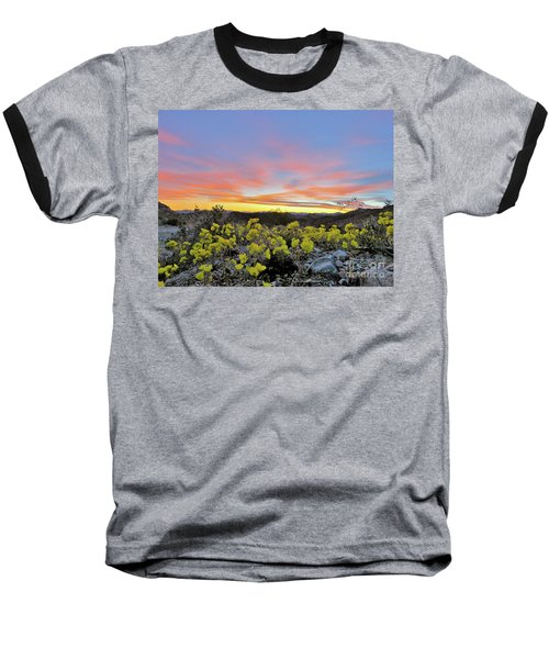 Sunset And Primrose Baseball T-Shirt by Michele Penner