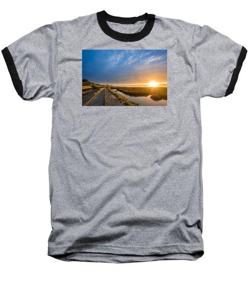 Sunset And Railroad Tracks Baseball T-Shirt by Greg Nyquist