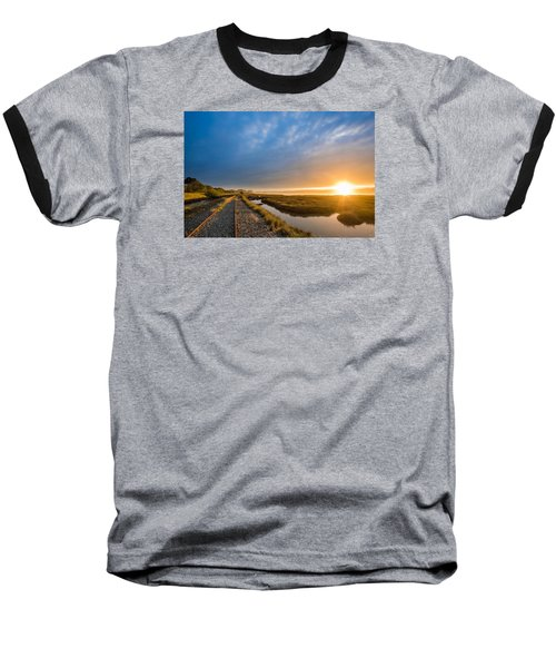 Sunset And Railroad Tracks Baseball T-Shirt