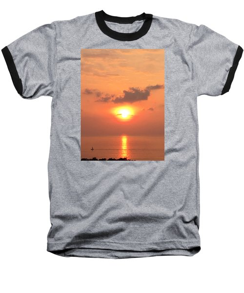 Baseball T-Shirt featuring the photograph Sunset And Sailboat by Karen Nicholson