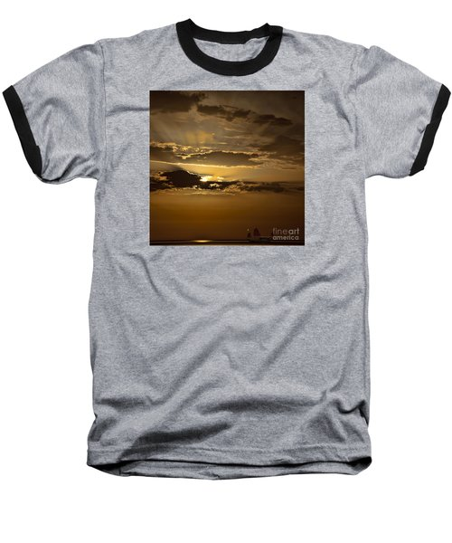 Baseball T-Shirt featuring the photograph Sunset And Sanpan by Shirley Mangini