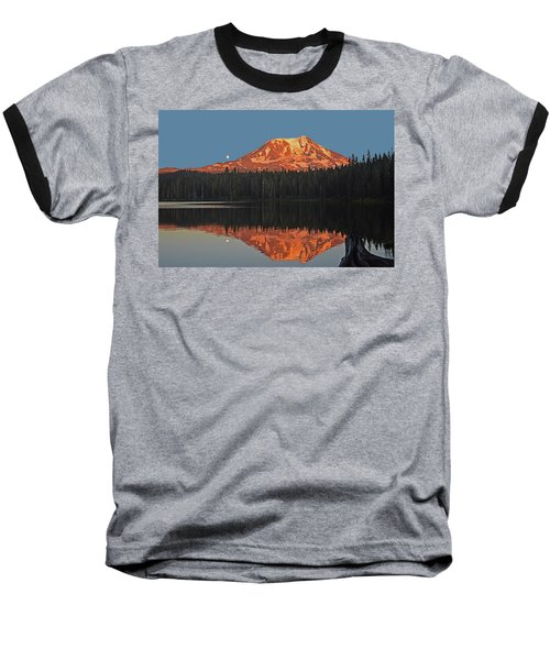 Baseball T-Shirt featuring the photograph Sunset And Moonrise At Takhlakh Lake by Jack Moskovita